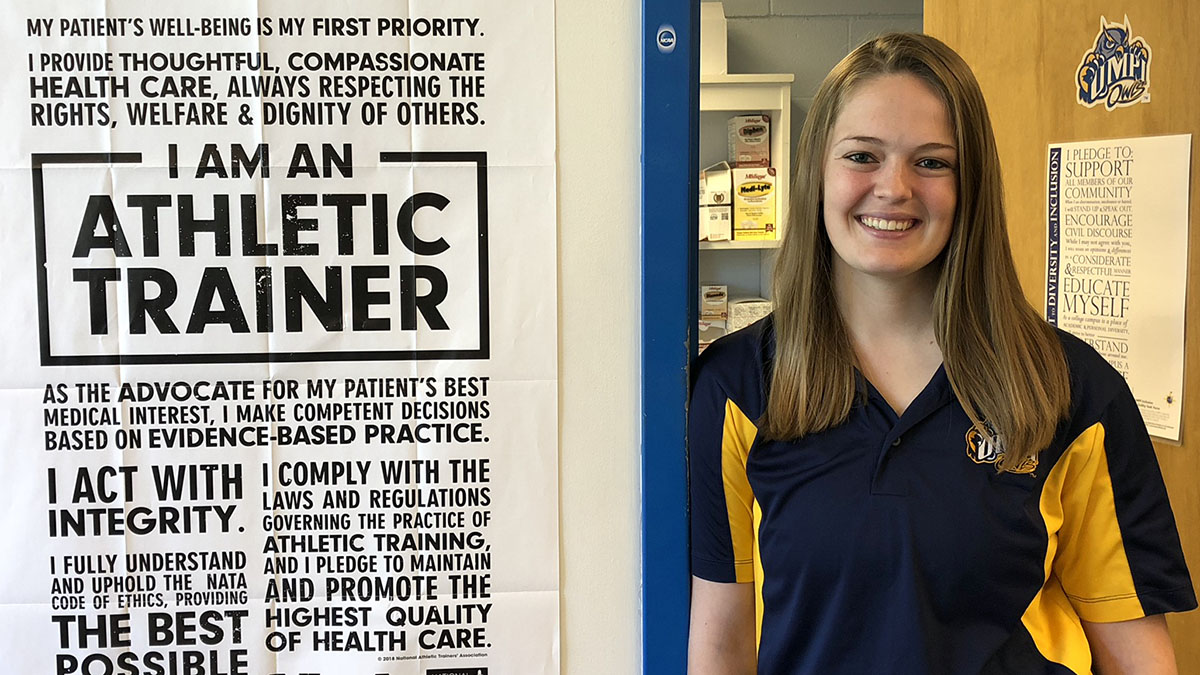 Sara Packard in athletic training office