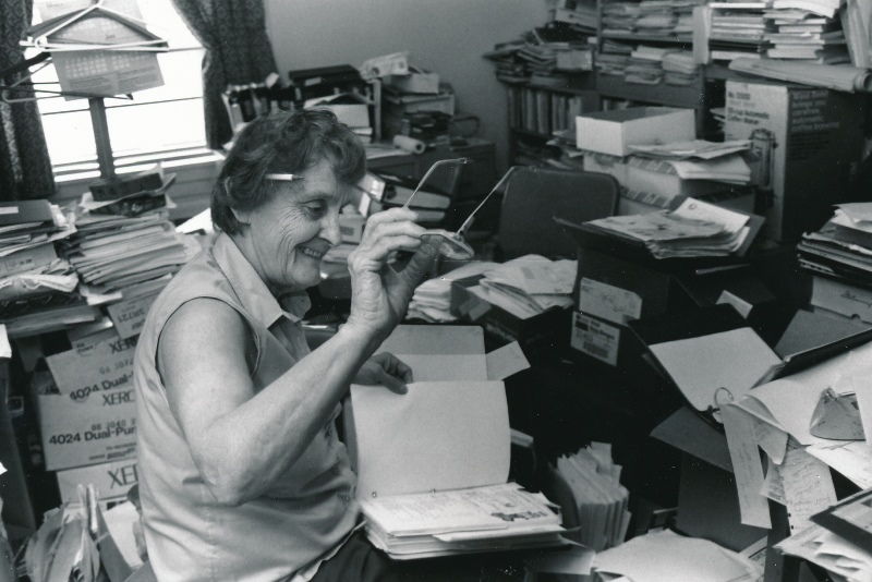 Spring 1993 Caroline Gentile in messy office crs