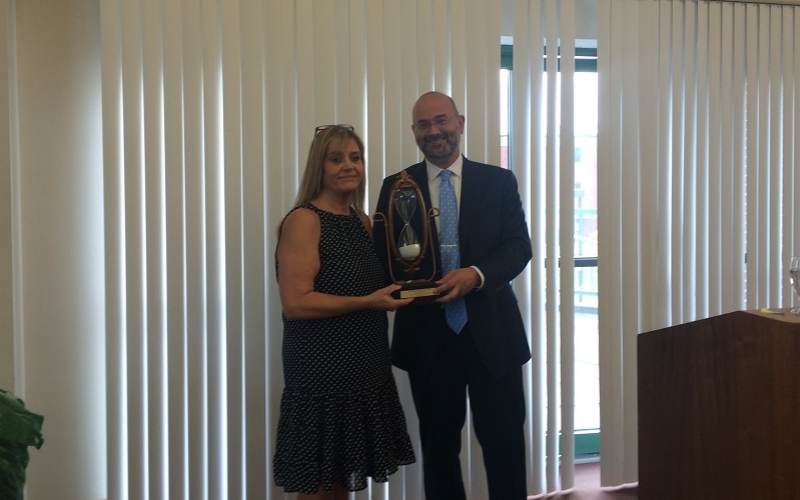 Charles Bonin Work Ethic Award given to Lynnelle Lavway
