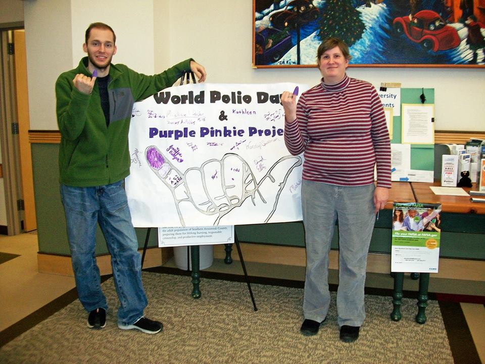 Thank you Kathleen Harrigan, UMPI English instructor, and James Dobbs, UMPI student, for helping us with the Purple Pinkie Project!