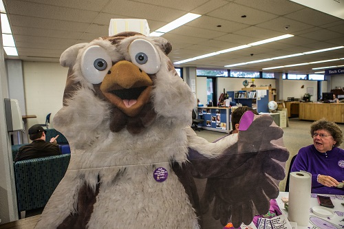 Even Hootie had a purple pinkie... er, feather!